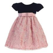 Little Girls Black Dusty Rose Velvet Corded Tulle Occasion Dress 2T-6
