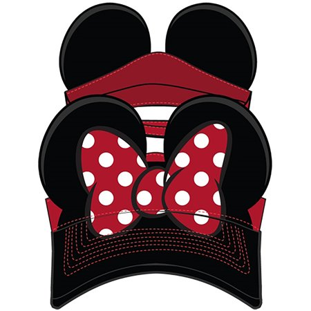 Adult Hat Visor Minnie Bow, Red Black](Kids Visors)