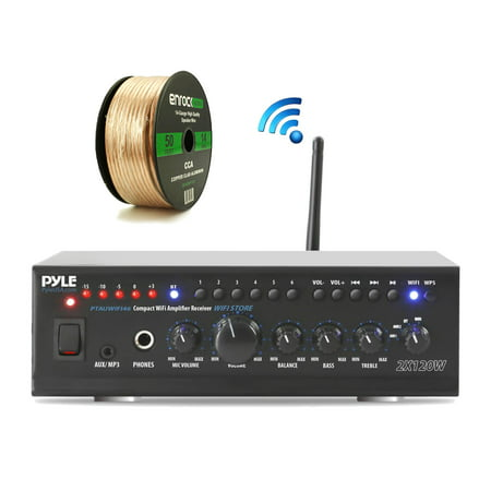 Pyle PTAUWIFI46 WiFi Bluetooth Stereo Amplifier 240-Watt Home Theatre Receiver,  Enrock Audio Spool of 50 Foot 14-Gauge Speaker (Best Home Theatre Receiver Under $500)