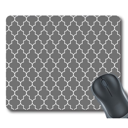 GCKG Classic Grey and White Quatrefoil Mouse Pad Personalized Unique Rectangle Gaming Mousepad 9.84