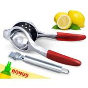 Lemon and Lime Squeezer w  Citrus Zester Peeler and Lemon Spritzer Manual Citrus Press Juicers Extra Large, Easy to...