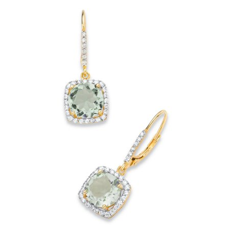 - 9.34 TCW Round Genuine Green Amethyst and Cubic Zirconia Halo Drop Earrings in 14k Yellow Gold over .925 Sterling Silver
