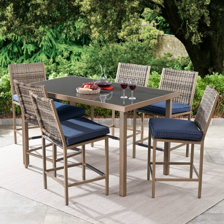 Fabulous Better Homes Gardens Gardenvale 7 Piece Outdoor Bar Height Patio Dining Set Home Interior And Landscaping Ologienasavecom