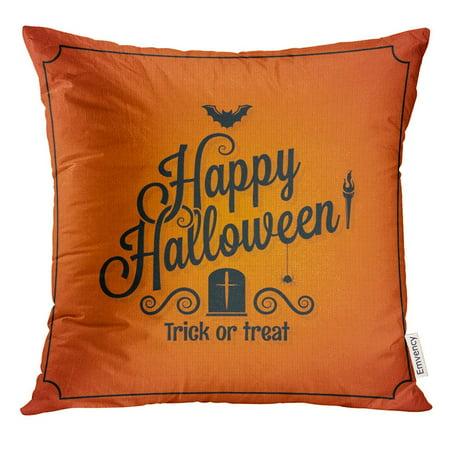 ARHOME Orange Day Halloween Ornate Event Happy Retro Autumn Pillow Case 18x18 Inches Pillowcase