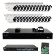 GW Security 32 Channel 4K H.265 NVR HD 2592 x 1920P PoE Security Camera System with 24 Weatherproof 5.0 Megapixel 1080P IP Cameras