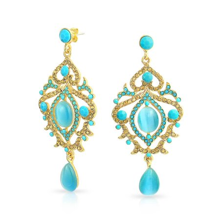 Large Aqua Blue Cats Eye Crystal Boho Prom Pageant Statement Chandelier Earrings For Women Gold Plated Alloy Crystal Chandelier Pierced Earrings