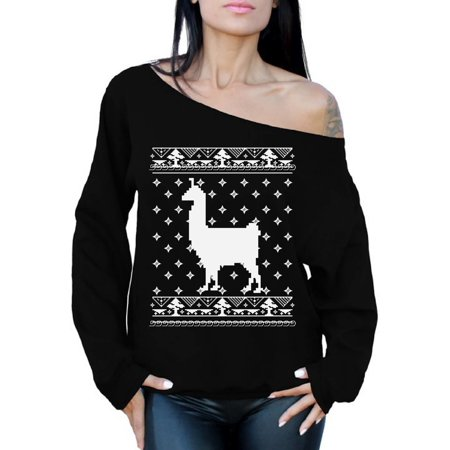Awkward Styles Llama Christmas Off The Shoulder Sweatshirt Christmas Llama Oversized Sweater for Women Funny Llama Gifts for Christmas Xmas Party Outfit Llama Ugly Christmas Sweater Off Shoulder (Ugly Sweater Outfits)