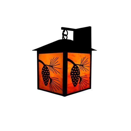 Design House 566620 Pine Cone Rustic Dimmable Indoor/Outdoor Wall Light Amber Glass for Porch Cabin Entryway Garage (bulb not included), Oil Rubbed Bronze (Pine Cone Designs)