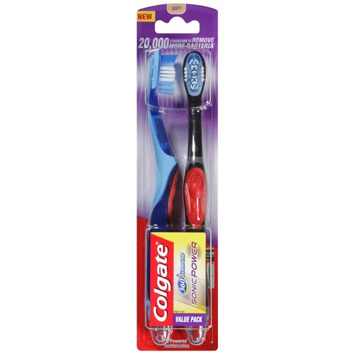 Colgate 360 Surround Sonic Power Soft Toothbrush, 2 count