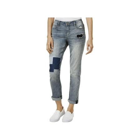 Earl Jean Womens Denim Patchwork Boyfriend Jeans