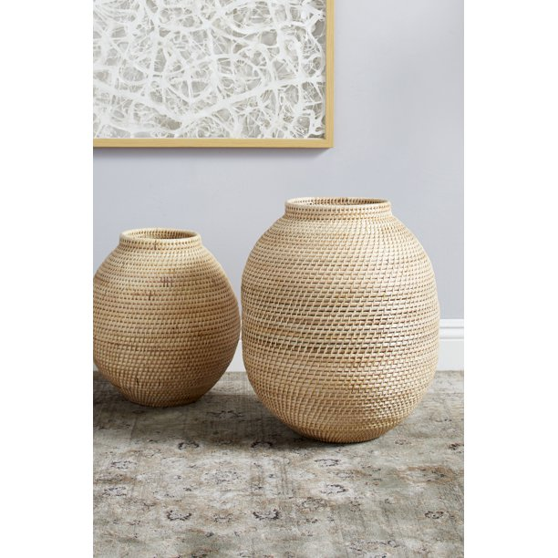 "Decmode 14"" x 17"" Large Handwoven Natural Beige Bamboo Vase"