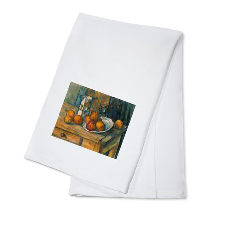 Still Life with Milk Jug and Fruit - (Artist: Paul Cezanne c. 1900) - Masterpiece Classic (100% Cotton Kitchen Towel) - Halloween Milk Jug Faces