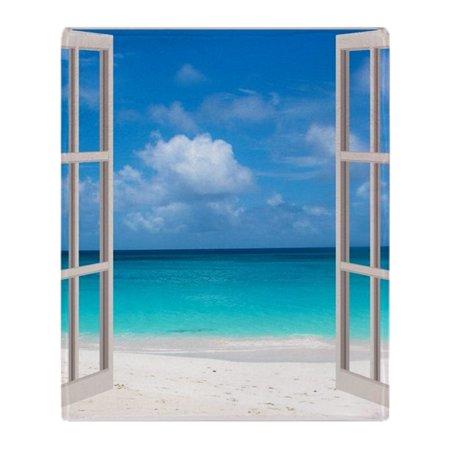 CafePress - Tropical Beach View Through Window - Soft Fleece Throw Blanket, 50