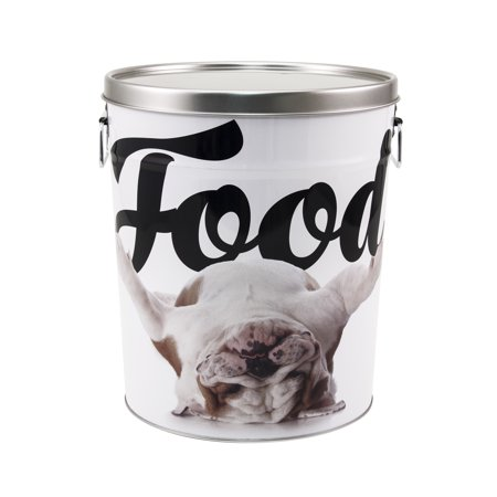 Paw Prints 15 lb. Tin Food Bin, Bulldog