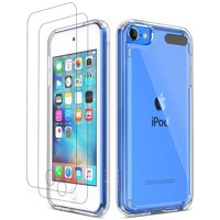 Clear iPod Touch 7 Case, iPod Touch 6 5 Case with Bulit-in Screen Protector, ULAK Clear Slim Soft TPU Bumper Hard Case for Apple iPod Touch 5 / 6th / 7th Generation (Latest Model 2019 Released), Clear