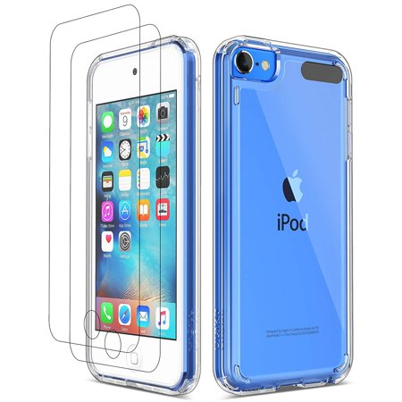 iPod Touch 7 Case, iPod Touch 6 5 Case with Bulit-in Screen Protector, ULAK Clear Slim Soft TPU Bumper Hard Case for Apple iPod Touch 5 / 6th / 7th Generation (Latest Model 2019 Released), Clear Mp3 Accessories Set