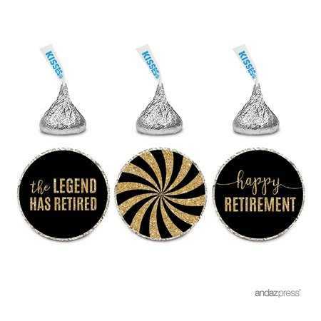 Gourmet Chocolate Favors - Chocolate Drop Labels Trio, Hershey's Kisses Party Favors, Retirement Black and Gold, 216-Pack, The Legend Has Retired