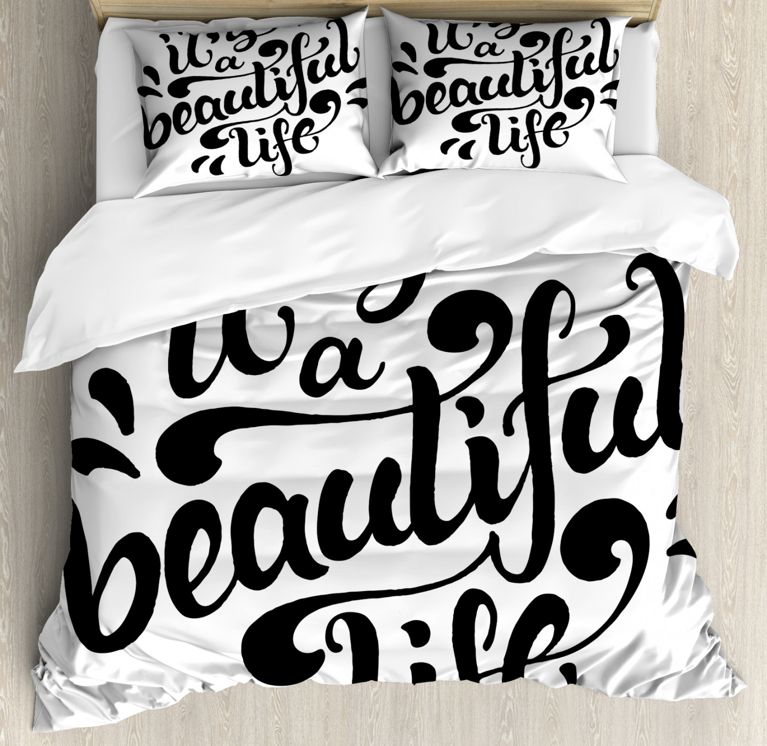 Inspirational Duvet Cover Set Positive Life Quote Hand Drawn Calligraphic Lettering Optimistic Message Decorative Bedding Set With Pillow Shams Black And White By Ambesonne Walmart Com Walmart Com