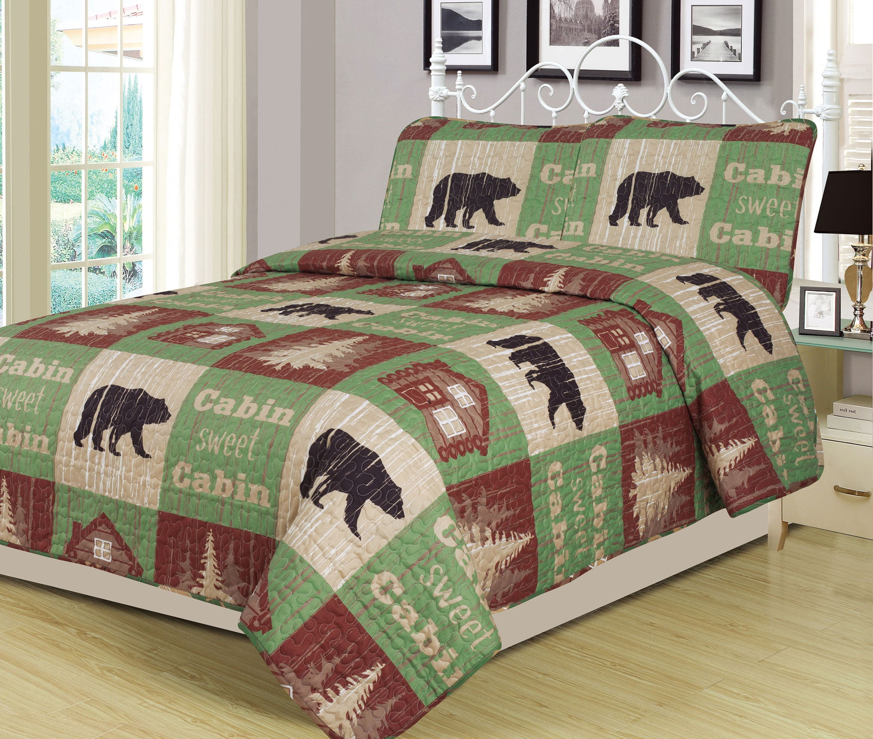 King Log Cabin Bear Quilt Set Country Rustic Lodge Cottage Bedspread Coverlet by