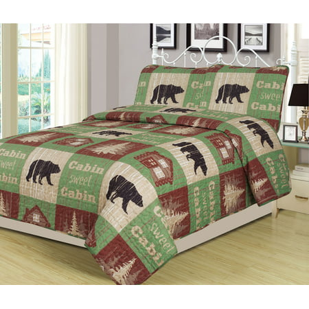 Full/Queen Size Log Cabin Bear Quilt Set Country Rustic Lodge Cottage Bedspread Coverlet ()