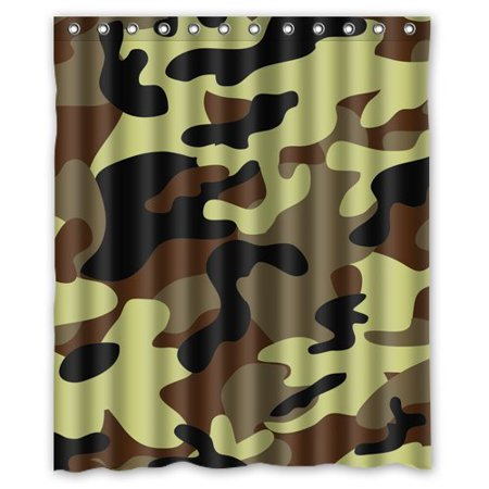 HelloDecor Camouflage Yellow Black Camo Shower Curtain Polyester Fabric Bathroom Decorative Size 60x72 Inches