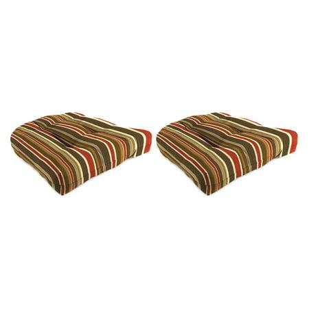 Jordan Manufacturing Sunbrella 18W x 18D in. Brannon Redwood Outdoor Wicker Chair Cushions - Set of (Redwood Cushions)