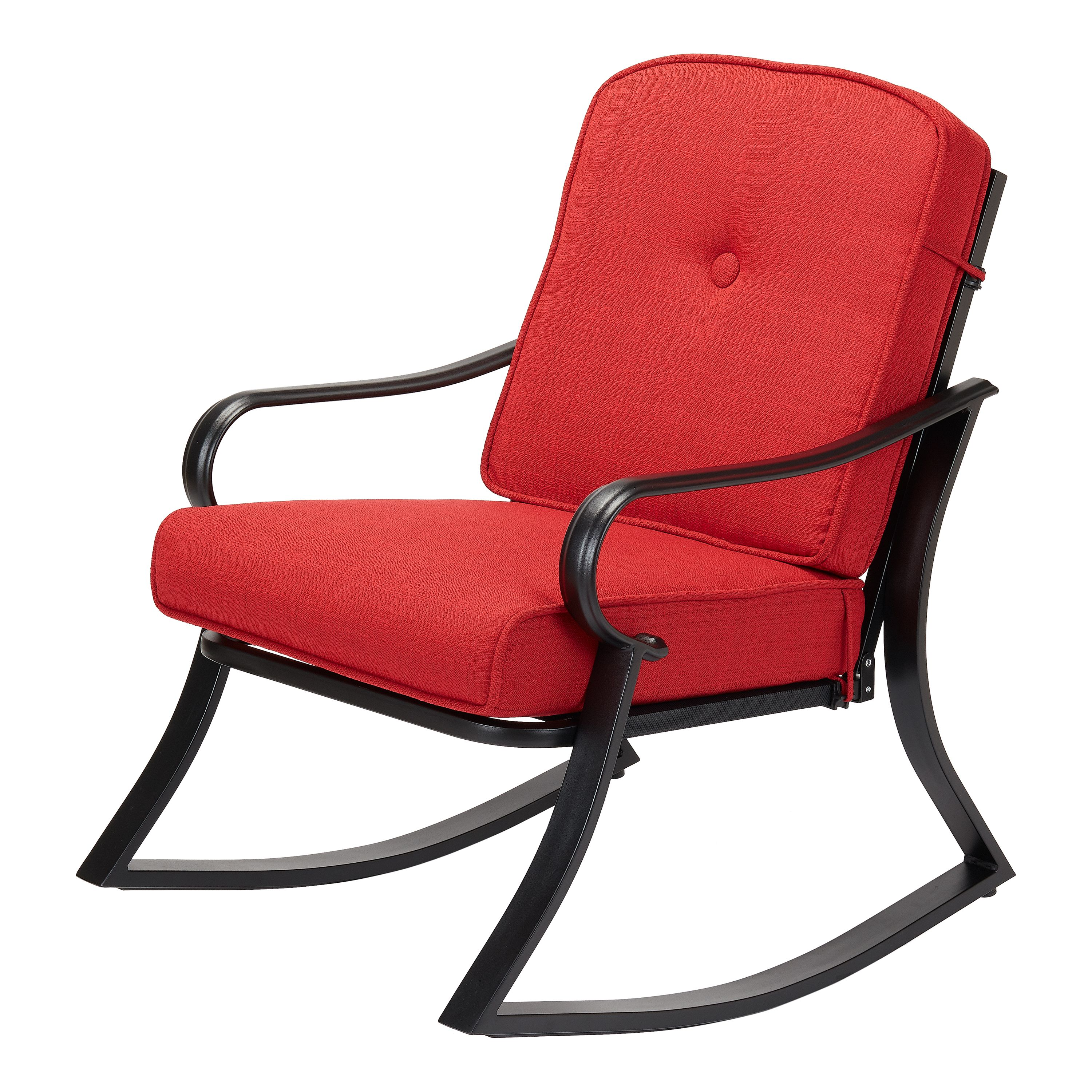 Mainstays Carson Creek Patio Rocking Chair with Brick Red Cushions