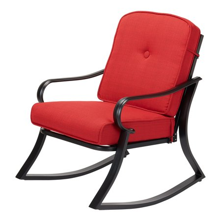 Mainstays Carson Creek Patio Rocking Chair with Brick Red Cushions (Red And Black Rocker Patch)