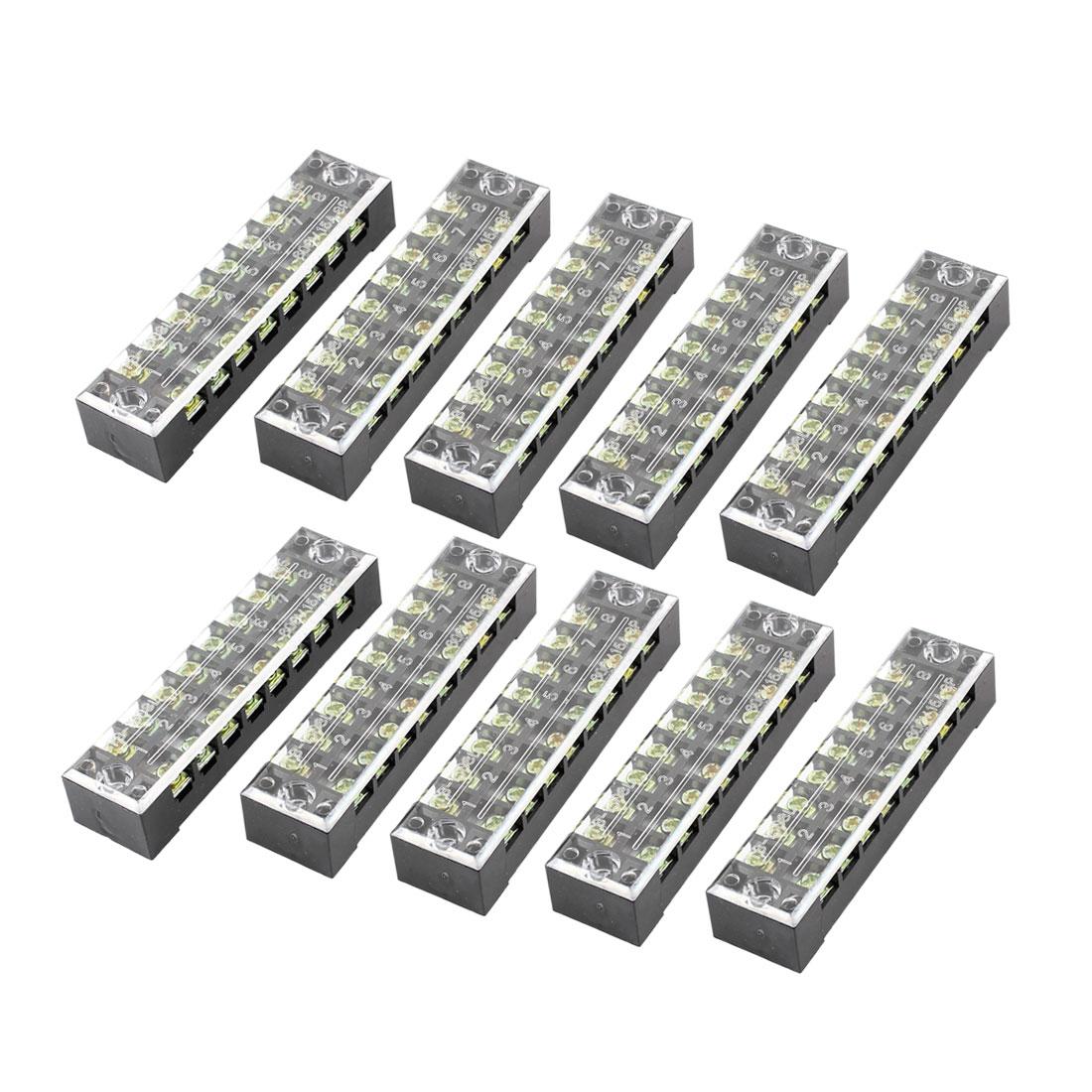 10 Pcs Dual Row 8 Position Screw Barrier Terminal Block Strip 600V 15A