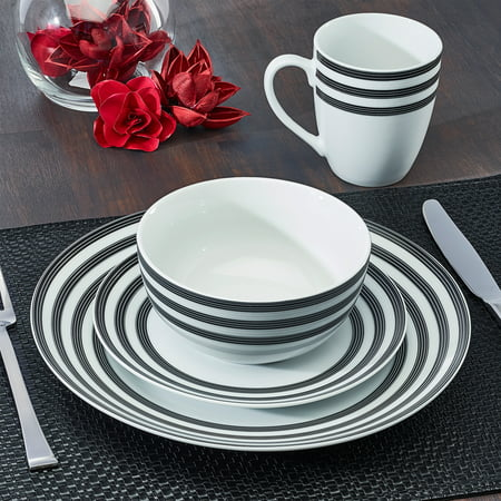 Cruise Multi-Striped Collection 16-Piece Porcelain Dinnerware Set, Walmart Exclusive ()