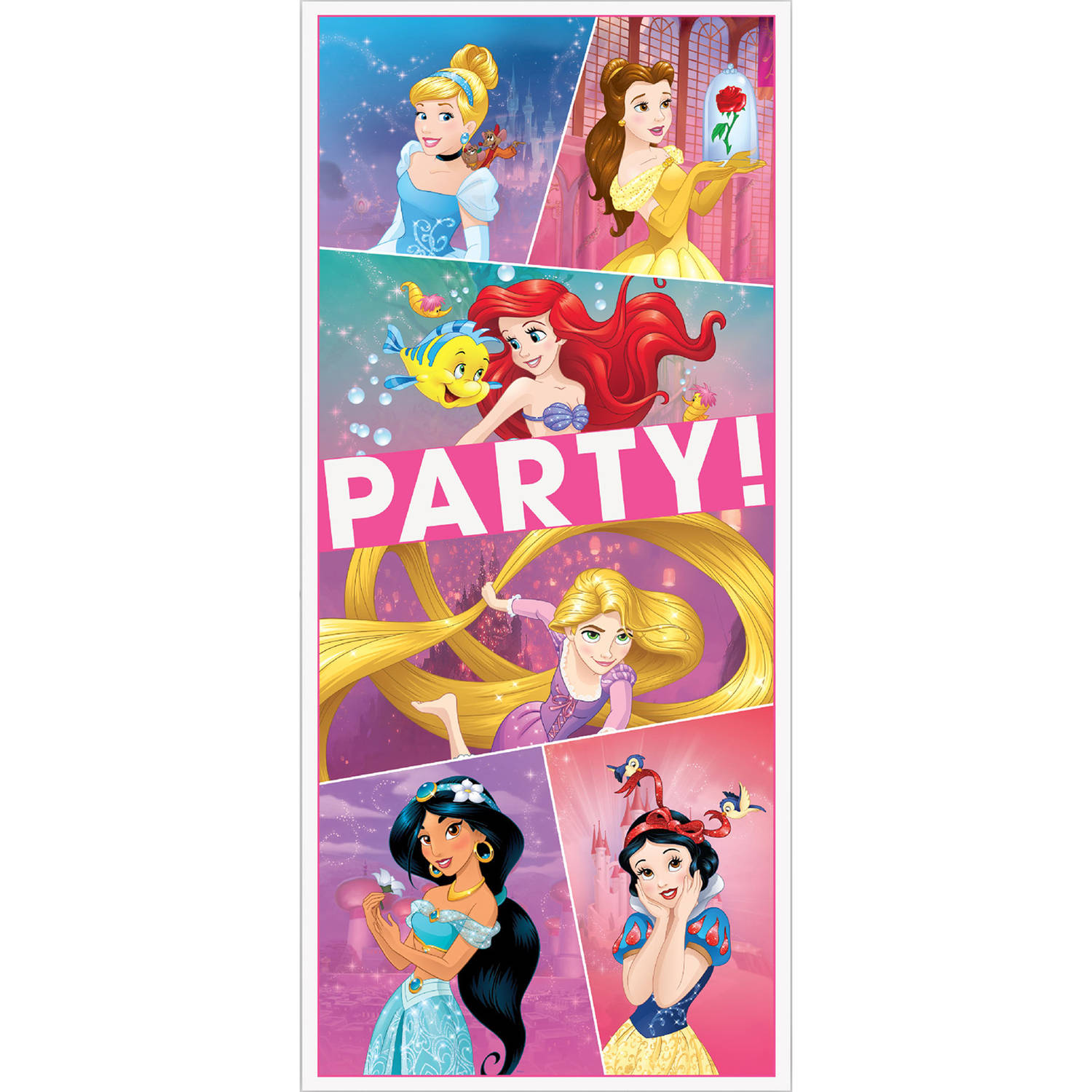Plastic Disney Princess Door Poster Party Decoration, 60 x 27 in, 1ct
