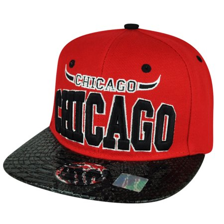 Chi Town City Chicago Faux Snake Skin Red Black Flat Bill Snapback Hat Cap