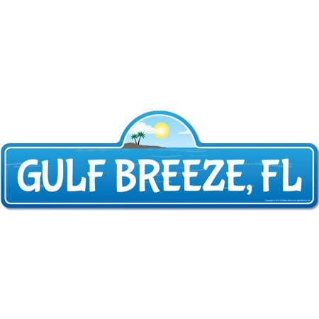 Gulf Breeze, FL Florida Beach Street Sign | Indoor/Outdoor | Surfer, Ocean Lover, Décor For Beach House, Garages, Living Rooms, Bedroom | Signmission Personalized Gift ()