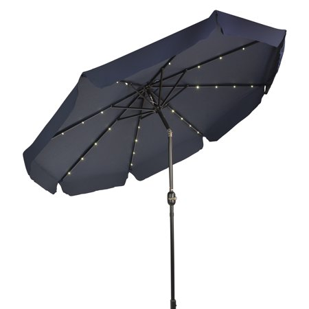 Deluxe Solar Powered Led Lighted Patio Umbrella With Decorative Edges  9  By Trademark Innovations