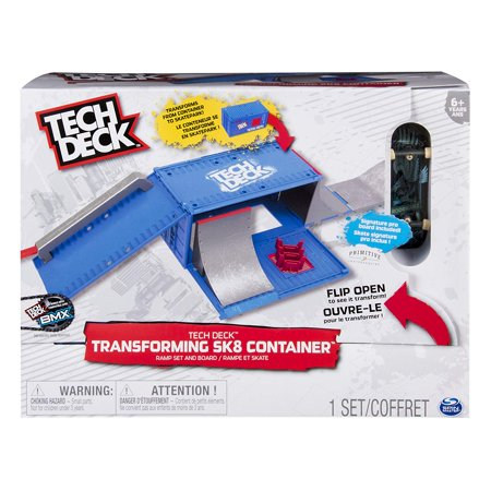 - Transforming SK8 Container with Ramp Set and Skateboard, The Tech Deck Transforming Sk8 Container goes fromWalmartpact box to a multi-functional skatepark.., By Tech