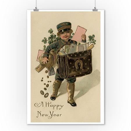 A Happy New Year - Irish Mail Boy (9x12 Art Print, Wall Decor Travel Poster)