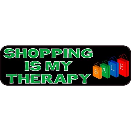 10in x 3in shopping is my therapy bumper stickers vinyl decals car sticker decal