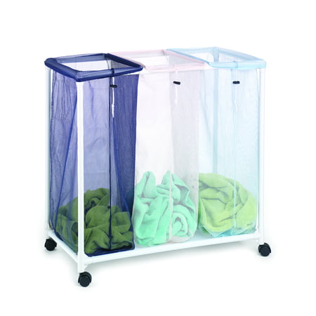 Homz Triple Laundry Sorter with Durable Frame and Casters/Wheels ()