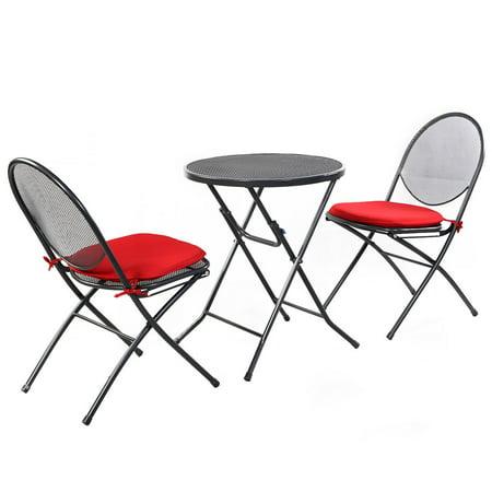 Costway 3 Pcs Folding Steel Mesh Outdoor Patio Table Chair Garden Backyard Furniture Set