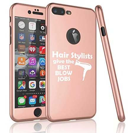 360° Full Body Thin Slim Hard Case Cover + Tempered Glass Screen Protector for Apple iPhone Hair Stylists Give The Best Blow Jobs Funny Hairdresser (Rose-Gold, for Apple iPhone 6 Plus / 6s