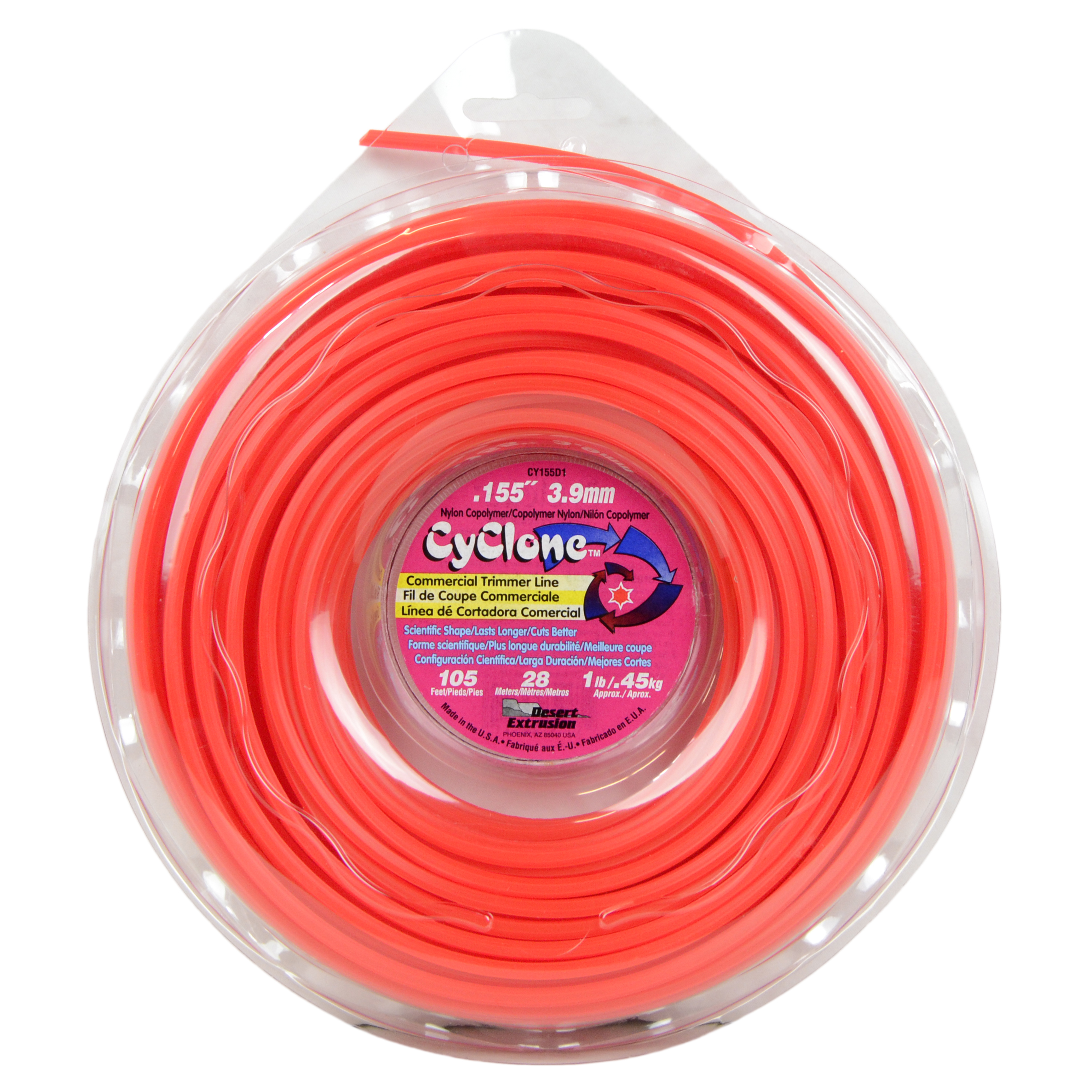 "Cyclone CY155D1 0.155"" x 155' Commercial String Trimmer Line Red, Made in the USA"