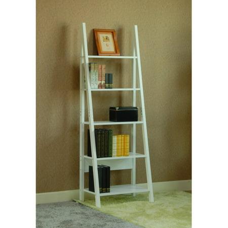 Magari 5 Tier Corner Leaning Ladder Bookshelf White