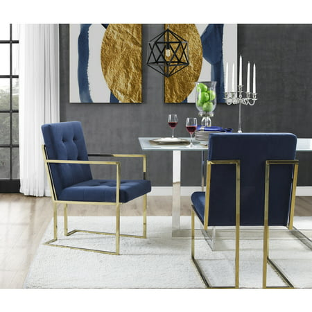 Cecille PU Leather or Velvet Dining Chair - Set of 2 | Chrome Frame | Square Arm | Button Tufted | Modern & Functional by Inspired Home (3/4 Chrome Button)