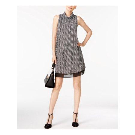ALFANI Womens Black Printed Sleeveless Turtle Neck Mini Shift Cocktail Dress Size: 8