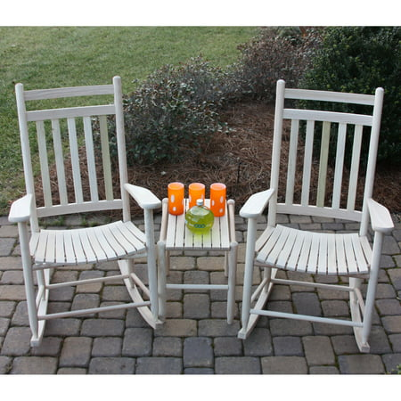 ... pc. Slat Rocking Chair Set with Side Table - Unfinished - Walmart.com