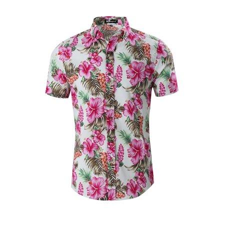 d8215ce8 Unique Bargains - Men Floral Slim Fit Short Sleeve Button Down Hawaiian  Shirt White/S (US 34) - Walmart.com