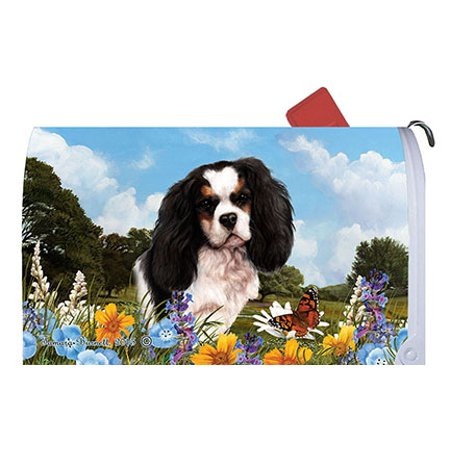 Tri Cavalier King Charles Spaniel - Cavalier King Charles Tri - Best of Breed Summer Flowers Dog Breed Mail Box Cover