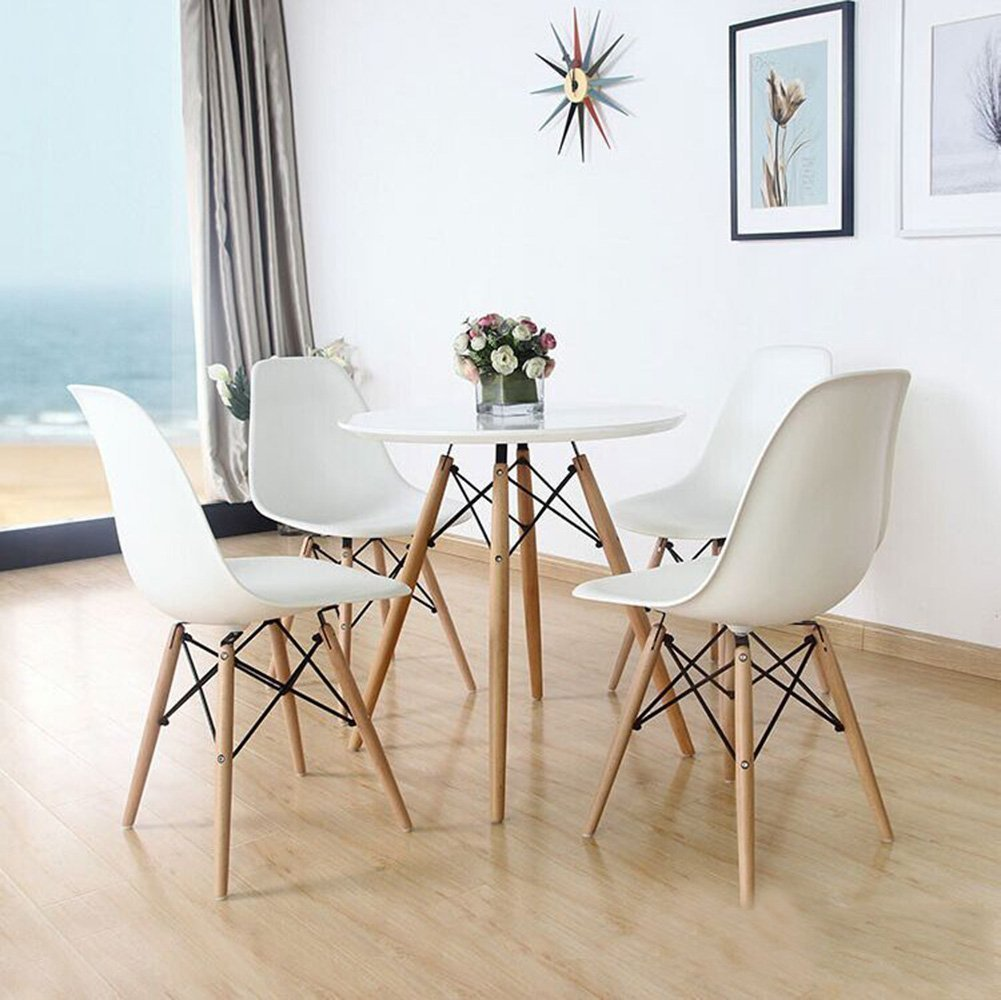 Set of Four (4) WHITE Eames Style Side Chair with Natural Wood Legs Eiffel Dining Room Chair Office Chair & Set of Four (4) WHITE Eames Style Side Chair with Natural Wood Legs ...