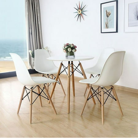 Set Of Four 4 White Eames Style Side Chair With Natural Wood Legs Eiffel Dining Room Chair Office Chair