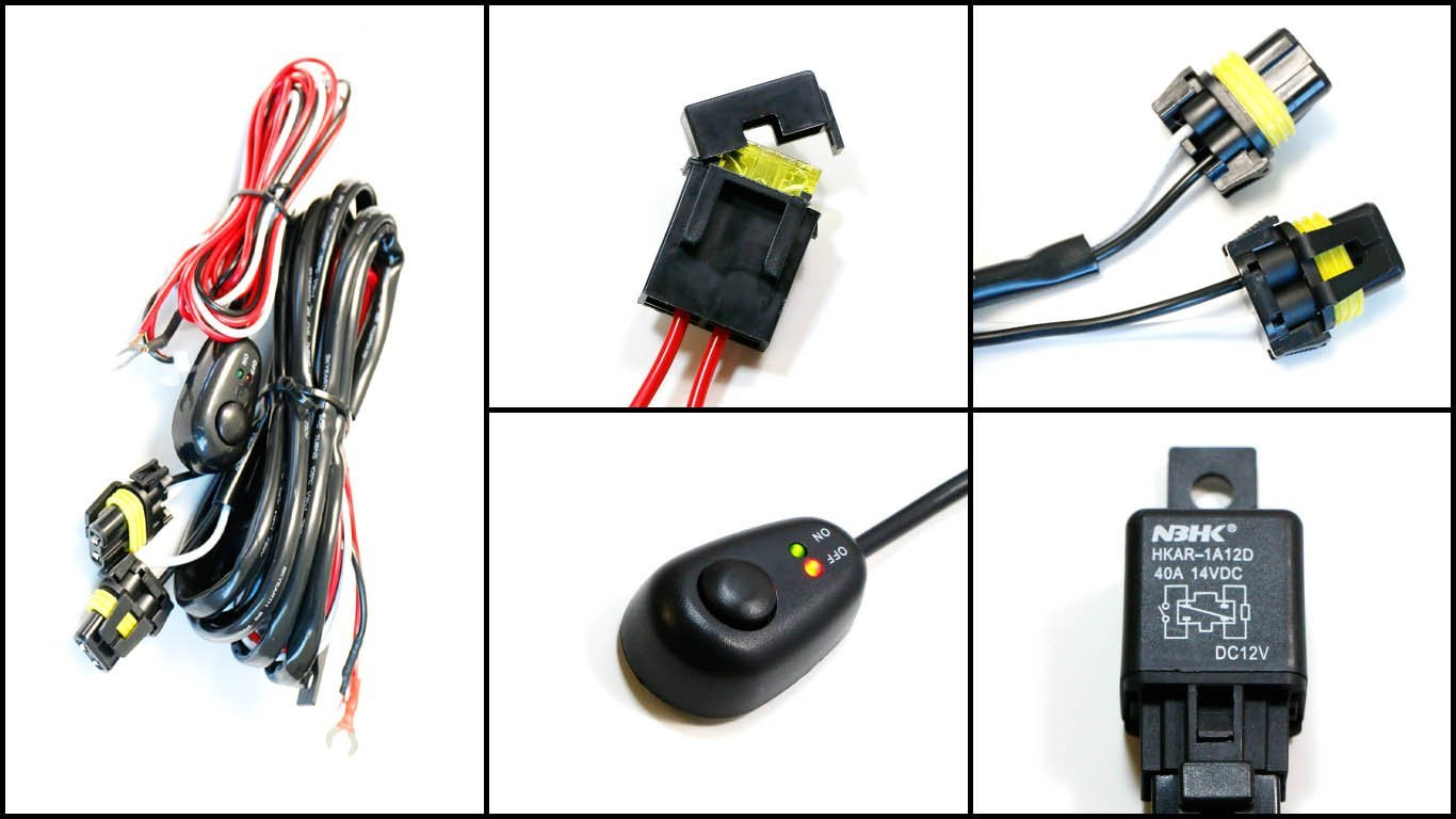 Ijdmtoy 1 9005 9006 H10 Relay Harness Wire Kit With Led Light On Switch Off For Aftermarket Fog Lights Driving Hid Conversion Work Lamp